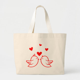 Just Married Cartoon Bride & Groom Black Wedding Large Tote Bag