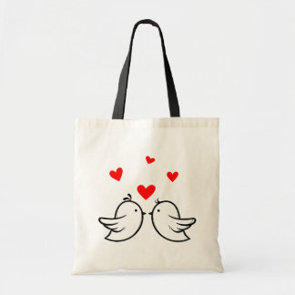 Just Married Cartoon Bride & Groom Black Wedding Tote Bag