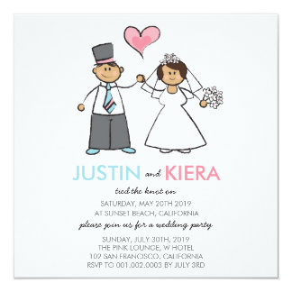 Just Married Cartoon Wedding Couple Announcement