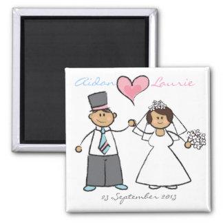 Just Married! Cartoon Wedding Couple Announcement Fridge Magnet
