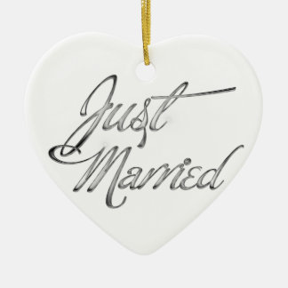 Just Married Ceramic Heart Decoration