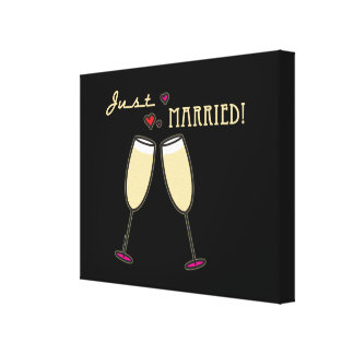 Just Married Champagne Toast Canvas Prints