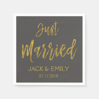 Just Married Charcoal Grey  and Gold Foil Napkins Disposable Napkin