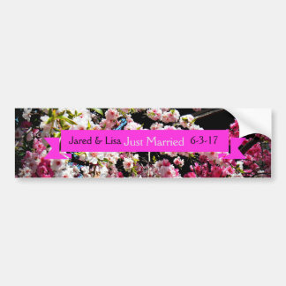 """Just Married"" Cherry Blossom Bumper Sticker"