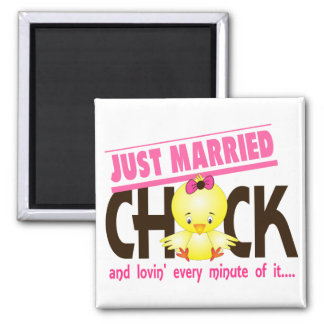 Just Married Chick Square Magnet