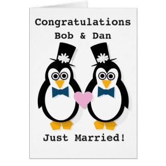 """Just Married!""  Customisable Mr & Mr Penguin Card"