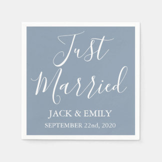 Just Married Dusty Blue and White Napkins Paper Napkin
