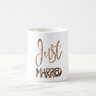 Just Married Elegant Gold Typography Bridal Coffee Mug