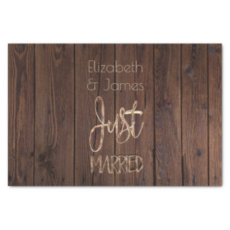 Just Married Elegant Gold Typography Rustic Brown Tissue Paper