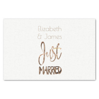 Just Married Elegant Gold Typography Wedding Gift Tissue Paper