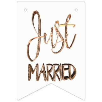 Just Married Elegant Gold Typography Wedding Party Bunting