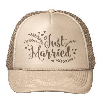 Just married elegant golden floral petals Wedding Cap