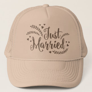 Just married elegant golden floral petals Wedding Trucker Hat