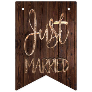 Just Married Elegant Wood Gold Typography Wedding Bunting