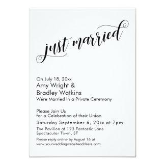 Just Married Fancy Script Post Wedding Celebration Card