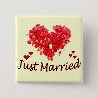 """Just Married"" Floral Heart Button"