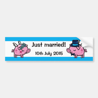 Just married fly pig bride and groom bumper sticker