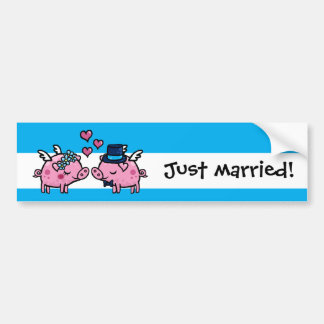 Just married flying pigs bride and groom bumper sticker