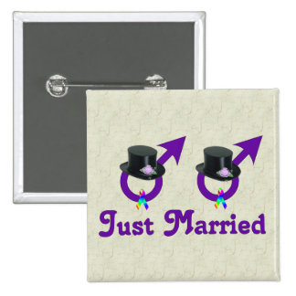 Just Married Formal Gay Male 15 Cm Square Badge