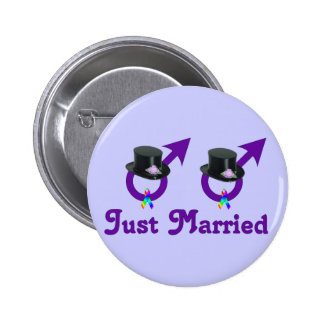 Just Married Formal Gay Male 6 Cm Round Badge