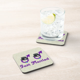 Just Married Formal Gay Male Coaster