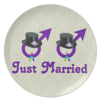 Just Married Formal Gay Male Plate