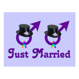 Just Married Formal Gay Male Postcard