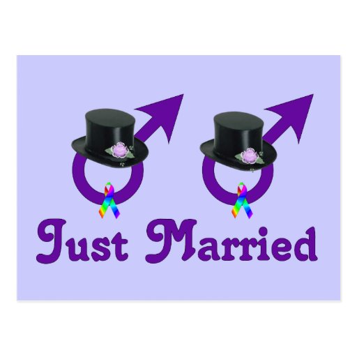 Just Married Formal Gay Male Post Cards