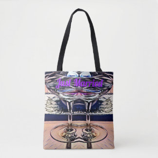 'Just Married' Fused Wine Glasses Bridal Tote