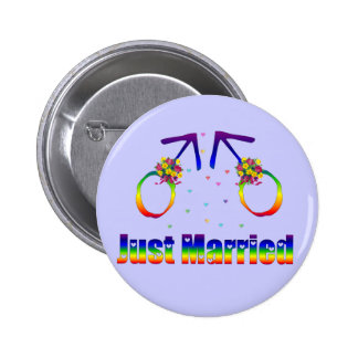 Just Married Gay Men 6 Cm Round Badge