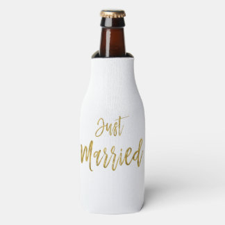 Just Married Gold Foil Birthday Bottle Cooler