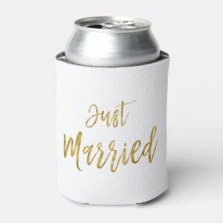 Just Married Gold Foil Birthday Can Cooler