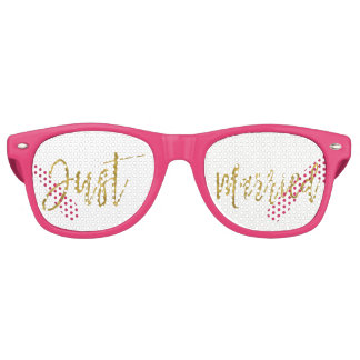 Just Married Gold Foil Party Sunglasses