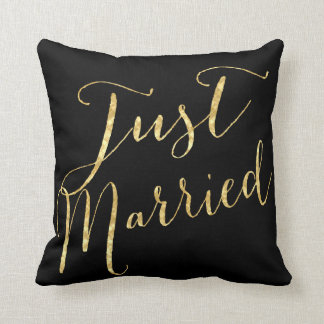 Just married gold sequin glitt personalized pillow