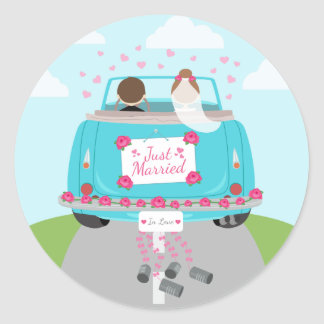 Just Married Green, Blue Turquoise Wedding Round Sticker