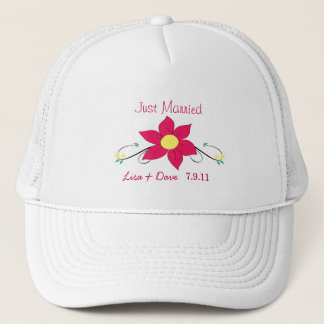 Just Married Hat- Pink Flower Trucker Hat