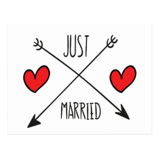 Just Married Heart And Arrow Wedding Postcard