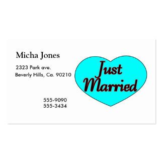 Just Married Heart Double-Sided Standard Business Cards (Pack Of 100)