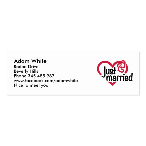 Just married heart business card template