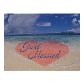 Just Married Heart On The Beach Poster