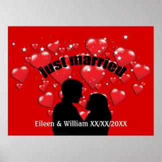 Just Married Hearts Lotta Love Custom Poster 24x18