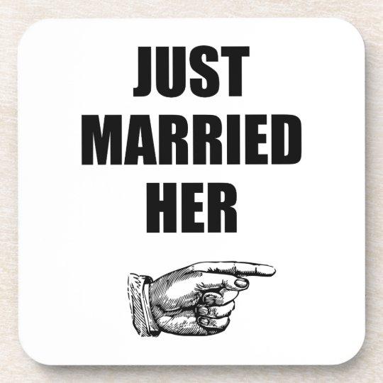 Just Married Her Beverage Coasters