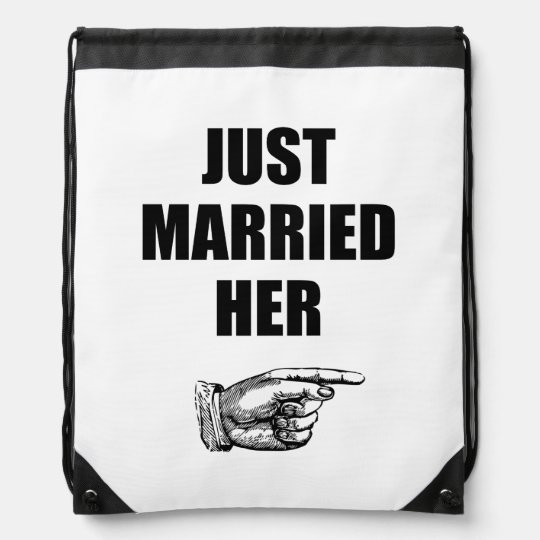 Just Married Her Drawstring Bag
