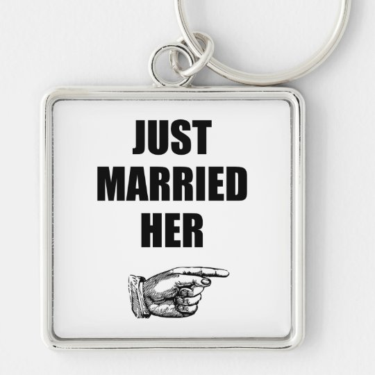 Just Married Her Silver-Colored Square Key Ring