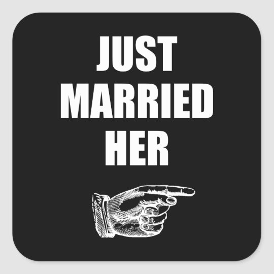 Just Married Her Square Sticker