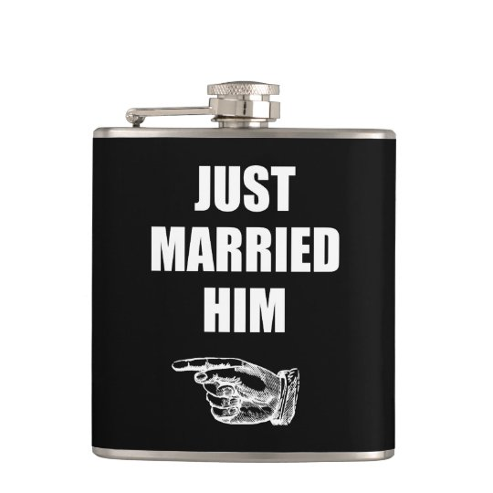 Just Married Him Hip Flask