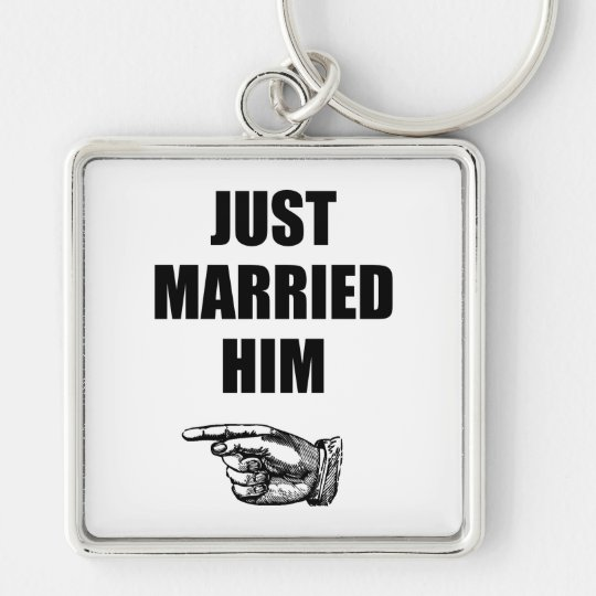 Just Married Him Silver-Colored Square Key Ring