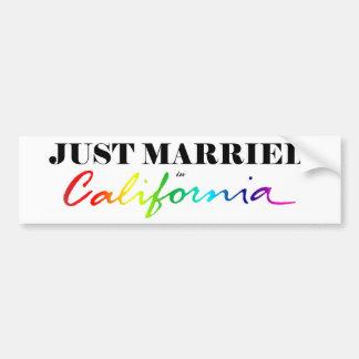 Just Married in California Pride Bumper Sticker