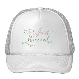 Just Married in chocolate and pink Mesh Hats