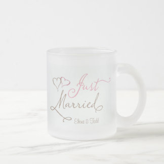 Just Married in chocolate and pink Coffee Mug